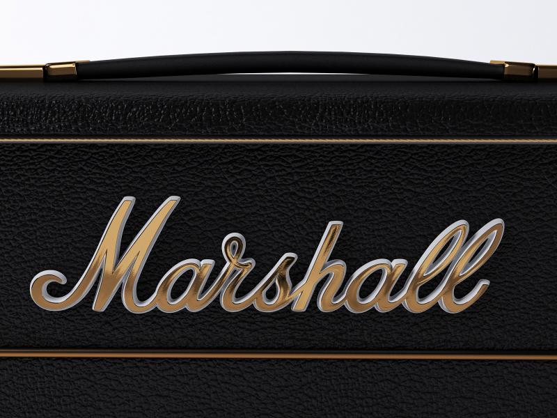 Marshall logo 3d v-ray 3ds max logo amp marshall