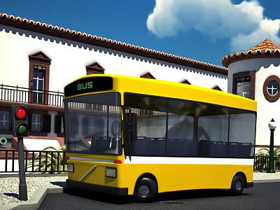 City bus cartoon funchal 3d cartoon bus city illustration render vray