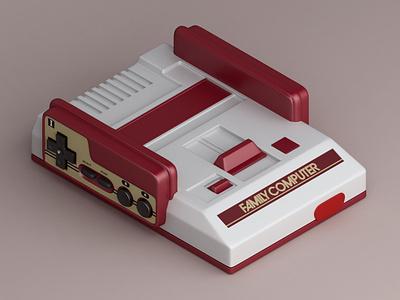 famicom retro nintendo famicom console games konceptsketcher vray isometric 3d