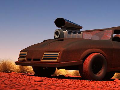 Mad Max Interceptor - 3D Cartoon mad max vray interceptor vehicle cartoon movies ford desert warm dirty