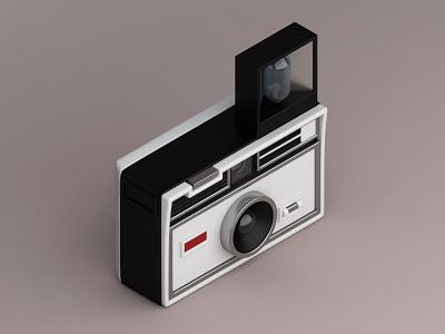 Kodac Instamatic 100, 1963 vintage camera konceptsketcher isometric illustration 3d 100 1963 instamatic kodak