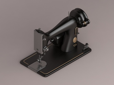 Singer Model 99k, 1911 design industrial singer iconic konceptsketcher isometric vray 3d machine