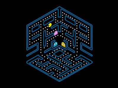 Pac -Man  game retro view isometric 3d pac-man