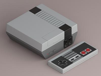 Nintendo Classic Mini icon orthographic nes nintendo vray gaming retro 3d