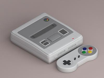 Super Nintendo Classic Mini - 3D nintendo mini classic snes retro vintage games isometric vray 3d