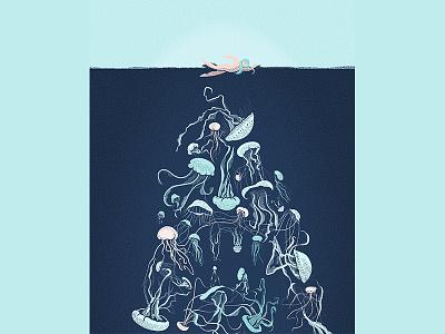 Jellyfish - good or evil? press magazine jellyfish illustration editorial article