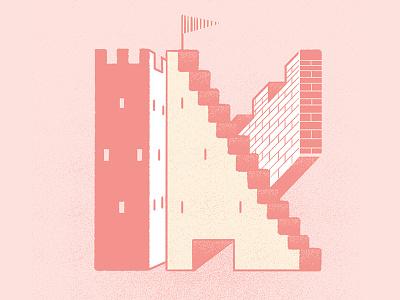 #36daysoftype - K is for Kingdom castle digital illustration type illustration