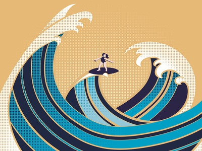 #36daysoftype - W is for Waves character design digital illustration type illustration