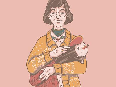 The Tió Lady fanart christmas character design digital illustration illustration
