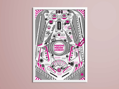 Poster: Positive Personality limited edition reinvent improvement instructions positive personality manual pinball machine illustration selfmade silkscreen poster