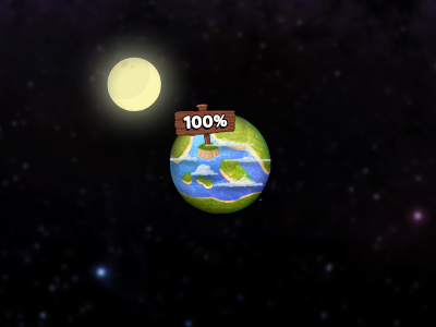 100%  game icon complete ios iphone android ipad planet moon space