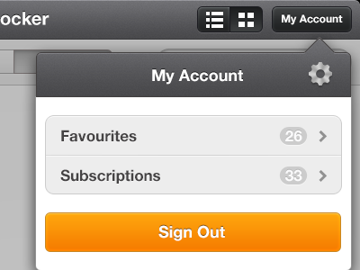 Pop Over ipad iphone e-reader cog setting account sign out