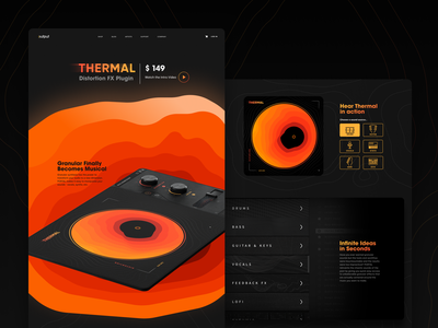 Output - Thermal (Responsive Landing Page) distortion music software figma ui marketing responsive design iconography visual design landing page output