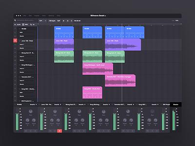 Custom DAW visual design music software color case study research daw music music ui dark ui figma prototyping ui