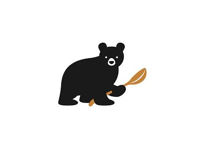 Little Bear Gelato Logo ice cream eating animal vector logo illustration spoon gelato bear