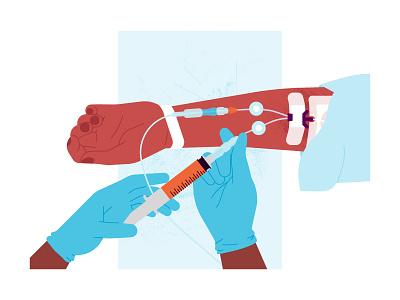 Nurse inserting medication into IV hospital injection medication nurse doctor healthcare needle texture health design woman vector illustration