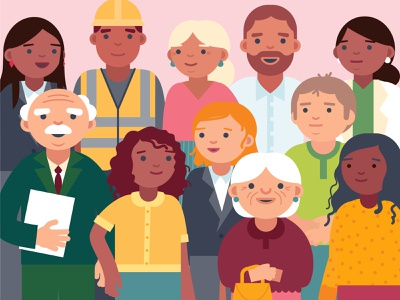 Crowd of People community city character crowd construction worker air person man doctor people health design woman vector illustration
