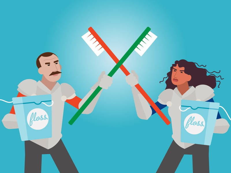 Plaque-fighting soldiers design vector illustration swords fighting dentist health oral armour man woman warrior soldier toothbrush floss plaque