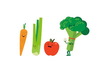 Fruit and Veggie Characters oral health healthy dentist dental design broccoli apple celery carrot vegetables fruit illustration character