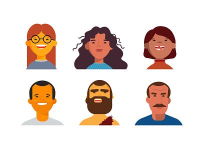ADA&C Characters portraits dentist vector design illustration man men woman characters