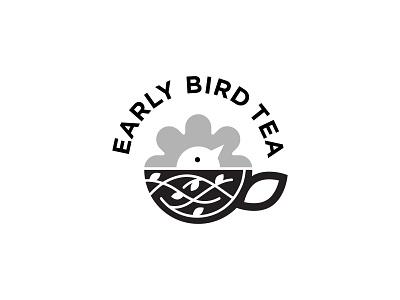 Early Bird Tea Logo teacup pattern branches flower sun early bird beverage branding illustration vector design tea logo