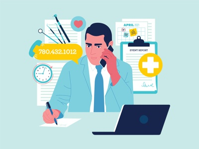 Reporting an Unforeseen Event Graphic graphic design design person people documents clipboard man phone phone number clock calendar doctor dentist oral health vector illustration infographic event reporting