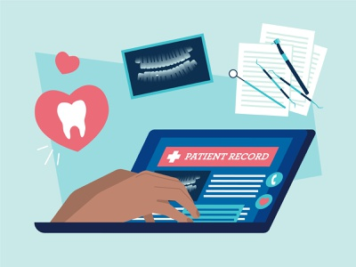 Graphic on Patient Records dentist health graphic design vector design illustration graphic person hands x ray heart tooth tools laptop documents records patient infographic