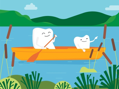Happy First Day of Summer from the Alberta Dental Association spring summer canoe water hills nature plants boat character tooth dental health design vector illustration