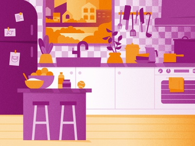 Kitchen Scene - Style Frame cooking stove inside house home health eating texture food kitchen design vector illustration