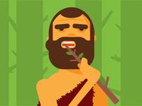 Caveman brushing teeth