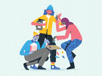 Back at University friends celebration party winter coffee movie board game back to school university vector art event student man people woman characters design illustration vector