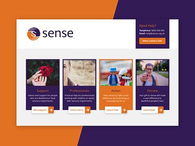 Sense website home page ux information architecture flat design clean ui ui ux design accessibility sensory impairments colour blindness web design website