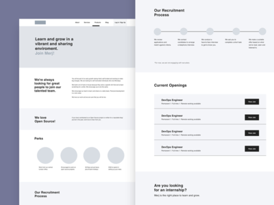 Career page Wireframes