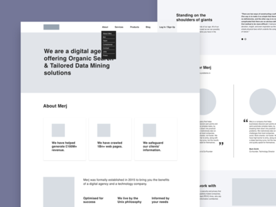 About page wireframes