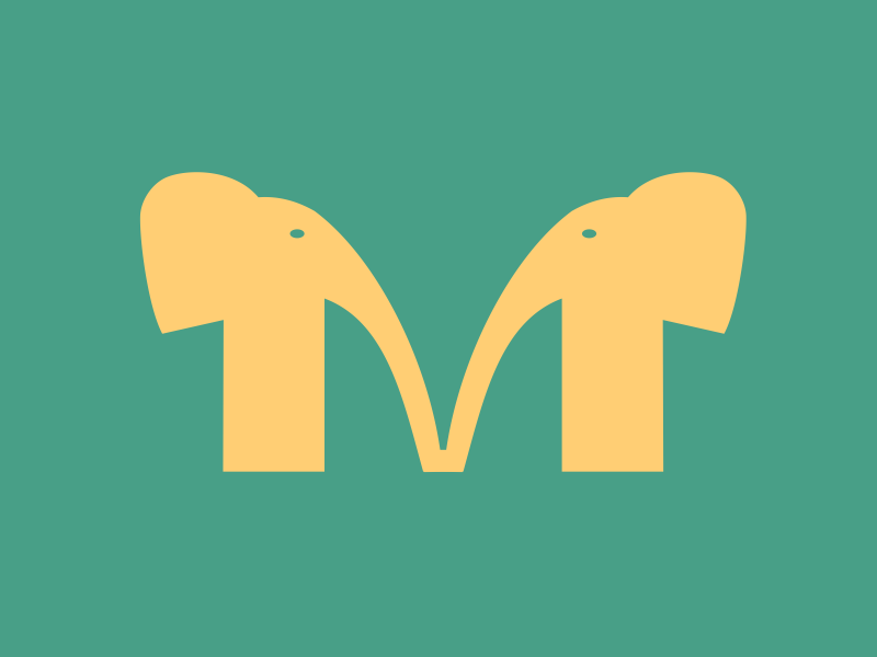 M image mirror symmetry yellow green typography m letters elephants typehue
