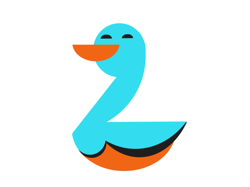 #typehue week 26: Z typehue shapes blue orange duck z