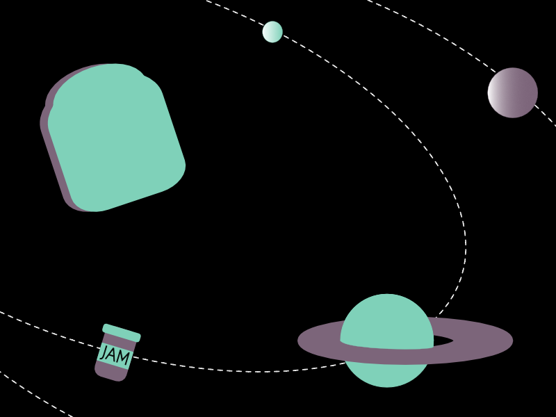 Giant Toast wordsmash typehue space orbit jam planet toast giant