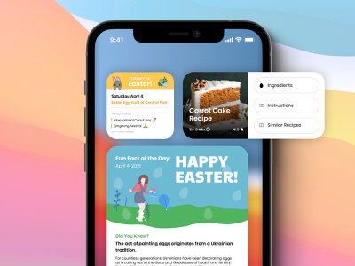 Happy Easter 2021 ios14 ios easter iphone holiday illustration concept design ui ux app mobile widgets