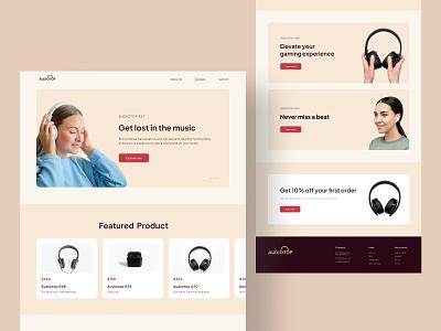 Audiotop - Audio company landing page landing page desk clean design white space minimal web figma design ux ui