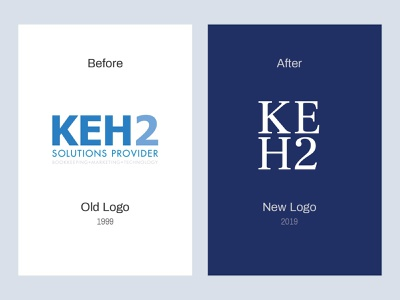 KEH2 Logo Design Rebrand finance accounting logotype refresh marketing bookkeeping before and after minimal technology clean logo design financial blue rebrand branding logodesign logo