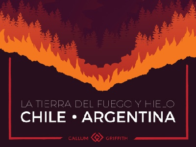 Patagonia Poster landscape illustration argentina chile wilderness mountain nature ice fire artwork poster patagonia