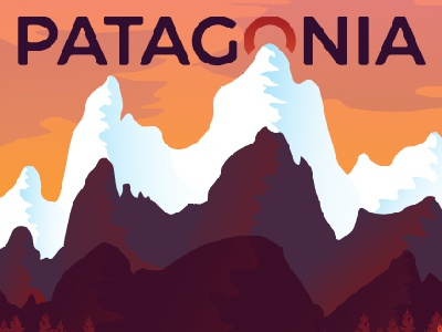 Patagonia Poster Pt 2 landscape illustration argentina chile wilderness mountain nature ice fire artwork poster patagonia