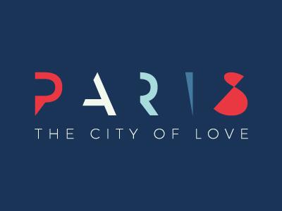 Paris City of Love Logo clean modern minimal red blue fashion campaign travel love city paris logo