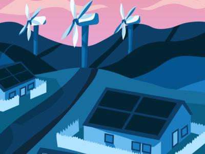 Illustration in progress - Clean Energy clean energy sunset turbine wind solar landscape blue illustration