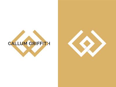 Callum Griffith Design Logo design minimalistic design minimalistic logo simple white gold gradient minimal clean logo