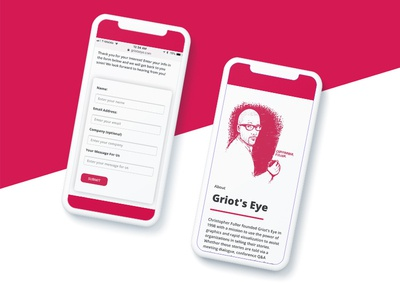 Mobile Website Design Mockup for Griot's Eye Inc. ux ui vector minimal design redeemer about me contact illustration website web mobile