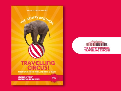 Travelling Circus V3 travel event ball creative summer red elephant circus appletv itunes netflix poster art new 2020 creativity poster montreal illustrator canada photoshop