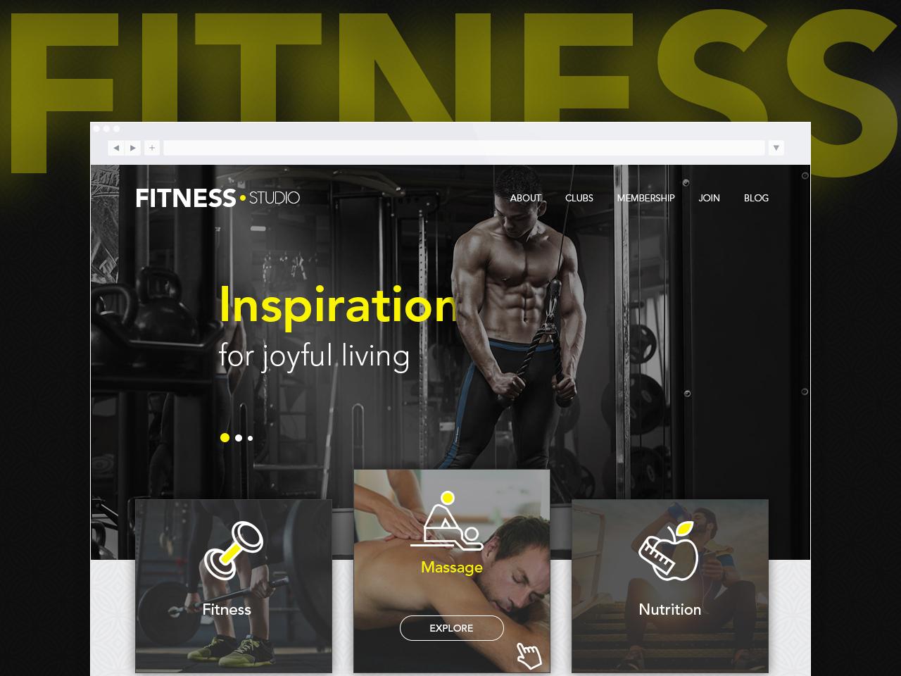 Fitness studio - landing page nutrition massage ui design ux design gym landing page fitness sports