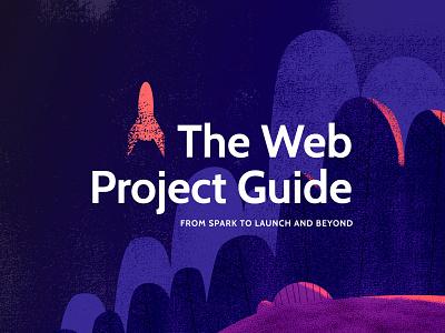 The Web Project Guide Logo textured illustration rocket logo