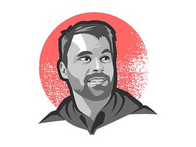 Portrait of Sam Otis textured vector illustration portait
